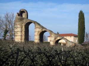 Gier Roman aqueduct - Arcs (remains) of the aqueduct in Chaponost