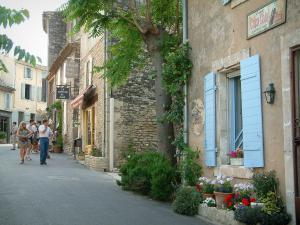 Gordes - Street in the village with houses, plants and flowerpots