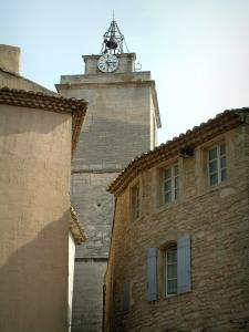 Gordes - Church bell tower and houses in the village