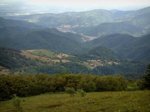 Grand Ballon - From the top of the mountain, view of the surrounding hills (Ballons des Vosges Regional Nature Park)