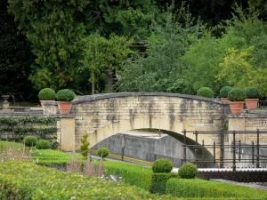 Grand Jardin castle - Floor of the Renaissance garden, walkway and small bridge over the canal; in the town of Joinville