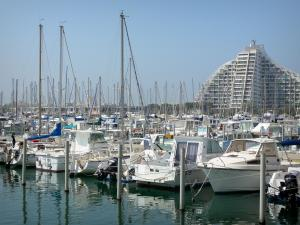 La Grande-Motte - Boats and sailboats of the sailing port and building of the seaside resort