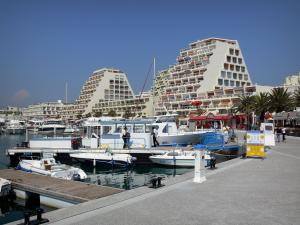 La Grande-Motte - Seaside resort: buildings and sailing port with its boats