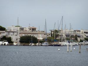Le Grau-du-Roi - Port-Camargue: sailing and fishing harbour with its moored boats and marinas