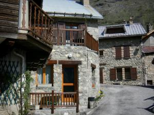 La Grave - Street and stone houses of the village