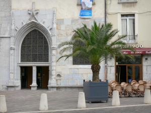 Grenoble - Portal of the Notre-Dame cathedral, palm tree and café terrace
