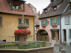 Gueberschwihr - Flower-bedecked fountain (geraniums) and houses with colourful facades in the village