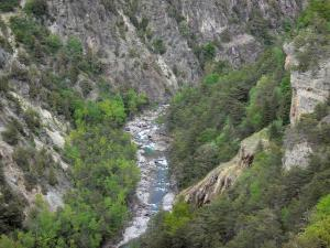 Guil gorges - Guil torrent lined with trees and rock faces; in the Queyras Regional Nature Park