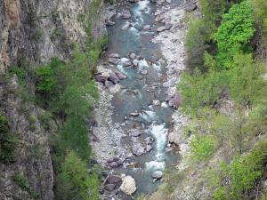 Guil gorges - Guil torrent, trees, cliffs and rock faces; in the Queyras Regional Nature Park
