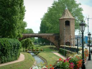 Haguenau - Flower-bedecked bank, lampposts, the Pêcheurs tower with an arc, river and trees
