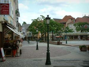 Haguenau - Square with lampposts, trees, shops and houses