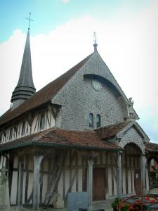 Half-timbered church - Saint-Jacques et Saint-Philippe church (Half-timbered building) in the village of Lentilles