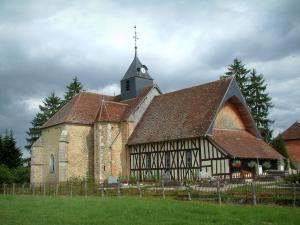 Half-timbered church - Meadow, cemetery and Chauffour-lès-Bailly church