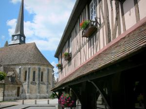 Harcourt - Saint-Ouen church, and old timber-framed covered market hall home to the town hall