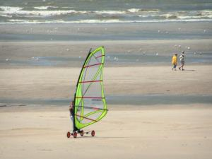 Hardelot-Plage - Opal Coast: sandy beach with someone speed-sailing (windsurfing board with wheels), two walkers, gulls and the Channel (sea); in the Regional Nature Park of Opal Capes and Marshes