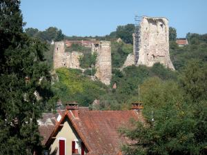 Hérisson - Ruins (remains) of the castle overlooking the houses of the medieval village
