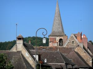 Hérisson - Lampposts, Saint-Sauveur bell tower and rooftops of the medieval village