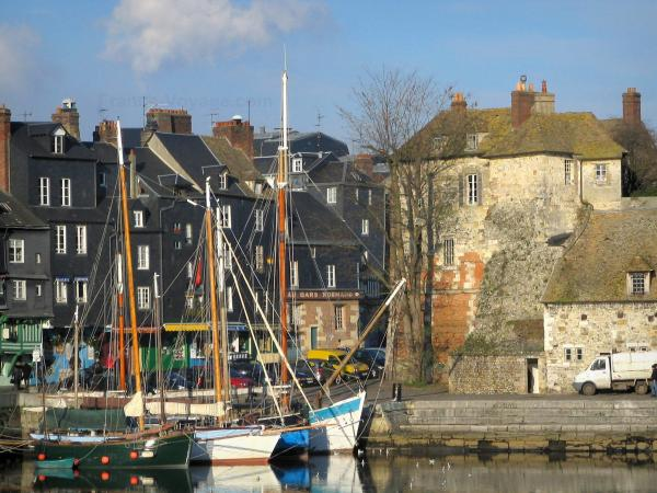 Honfleur - Sailboats in the Vieux Basin pond (port), quay, Lieutenance and high slate-fronted houses