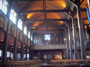Honfleur - Inside of the Sainte-Catherine church (wooden building)