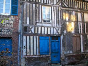 Honfleur - Timber-framed stone houses with blue door and shutters