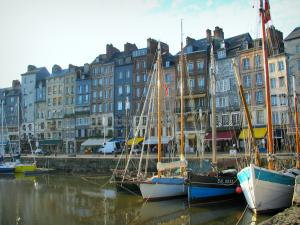 Honfleur - Sailboats in the Vieux Basin pond (port) and tall houses of the Sainte-Catherine quay