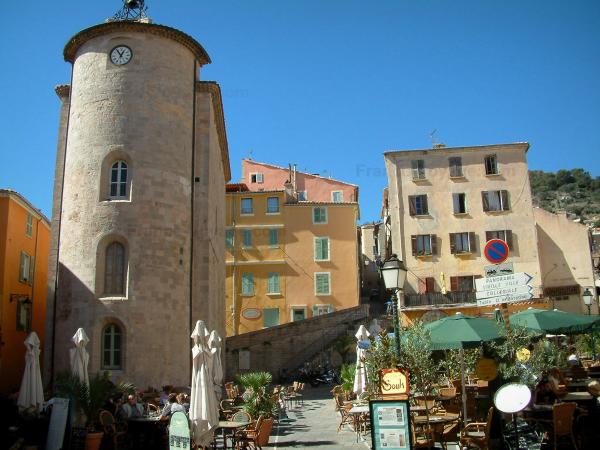 Hyères - The Saint-Blaise tower or Templiers tower (remains of the Knight Templars commanders), cafe terraces and colourful facades with houses on the Massillon square