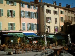 Hyères - Massillon square with its cafe terraces and its houses with colourful facades