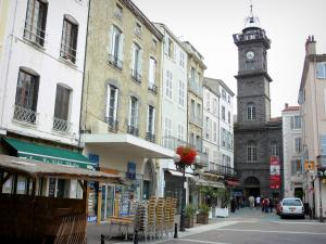 Issoire - Clock Tower (former belfry), facades of houses and shops in the old town