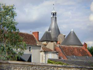 Issoudun - Steeple of the belfry and roofs of the old town