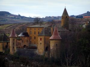 Jarnioux - Castle with towers in the Pierres Dorées (golden stones) area