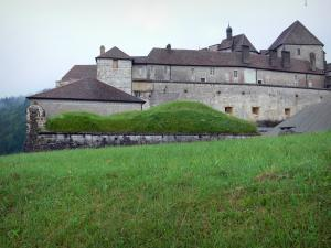 Joux castle - Grass in foreground and fortress (fort), in Cluse-et-Mijoux