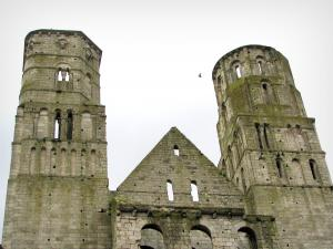 Jumièges abbey - Towers of the Notre-Dame church, in the Norman Seine River Meanders Regional Nature Park