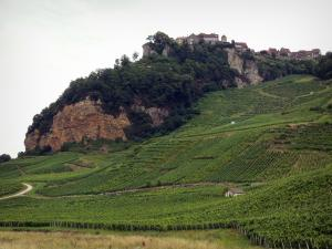 Jura vineyards - Village of Château-Chalon perched on its rocky mountain spur and overhanging vineyards