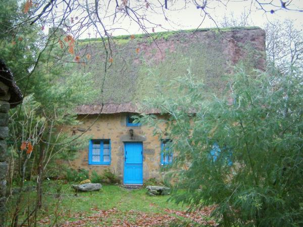 Kerhinet - House with a thatched roof (thatched cottage) and blue shutters, and trees in the Brière Regional Nature Park