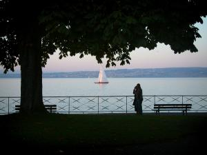 Lake Geneva - Tree, benches and rail in the shadow with view of Lake Geneva, sailboat and Swiss shore in background