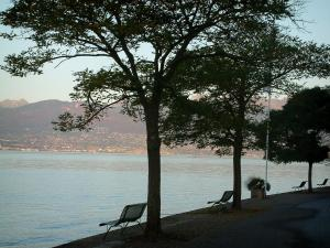 Lake Geneva - Trees and benches on the Meillerie shore with view of the lake and mountains of the Swiss shore