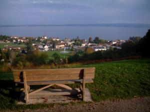 Lake Geneva - Bench with view of the spa town of Évian-les-Bains, lake and the Swiss shore