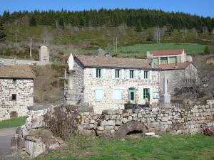 Landscapes of the Ardèche - Ardèche mountains: stone houses in the village of Mazan-l'Abbaye in a green setting
