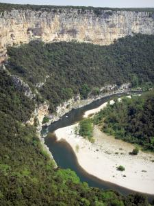 Landscapes of the Ardèche - Ardèche gorges: limestone cliffs overlooking River Ardèche
