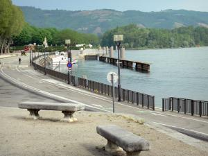 Landscapes of the Ardèche - Tournon-sur-Rhône: benches overlooking the Rhône river and the marina