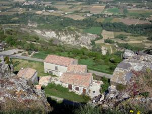 Landscapes of the Ardèche - View over the roofs of the village of Mirabel and the Coiron plateau