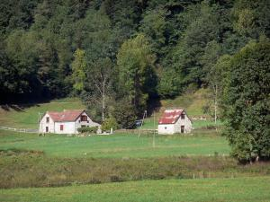 Landscapes of Ariège - Garbet Valley: house, barn, pastures and trees; in the Ariège Pyrenees Regional Nature Park, in Le Couserans area