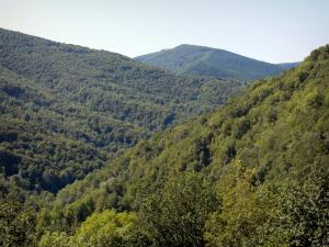 Landscapes of Ariège - Massif de l'Arize: hills covered with forests; in the Ariège Pyrenees Regional Nature Park