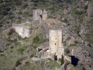 Landscapes of the Aude - Lastours castles: Quertinheux and Surdespine, two of the four Cathar castles of the Lastours site