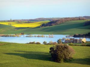 Landscapes of the Aude - Ganguise lake, or Estrade reservoir, surrounded by meadows