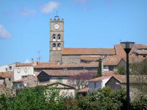 Landscapes of the Aude - Bell tower of the church and houses of Conques-sur-Orbiel