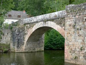 Landscapes of Aveyron - Aveyron valley: Saint-Blaise bridge spanning River Aveyron; in Najac