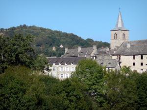 Landscapes of Aveyron - View of the bell tower and facades of the village of Espeyrac
