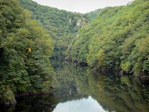 Landscapes of Aveyron - River Truyère lined with trees