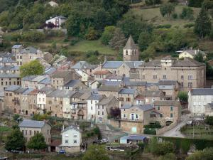 Landscapes of Aveyron - View of the village of Saint-Beauzély, with its church bell tower, its castle and its houses